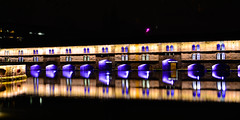 135.365 Vauban at Night (magaly.frances) Tags: france alsace strasbourg nikond5200 photographie photography ville night vauban barrage rivire river ill longexposure longuexpo longueexposition light purple gold
