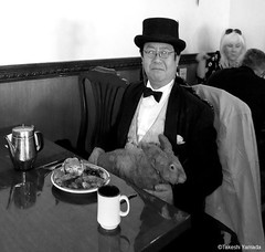 Dr. Takeshi Yamada and Seara (Coney Island Sea Rabbit) at the East Ocean Buffet Chinese restaurant in Brooklyn, NY on April 3, 2016.  20160403Sun DSCN4939=1020pC1BW. East Ocean Buffet (searabbits23) Tags: searabbit seara takeshiyamada  taxidermy roguetaxidermy mart strange cryptozoology uma ufo esp curiosities oddities globalwarming climategate dragon mermaid unicorn art artist alchemy entertainer performer famous sexy playboy bikini fashion vogue goth gothic vampire steampunk barrackobama billclinton billgates sideshow freakshow star king pop god angel celebrity genius amc immortalized tv immortalizer japanese asian mardigras tophat google yahoo bing aol cnn coneyisland brooklyn newyork leonardodavinci damienhirst jeffkoons takashimurakami vangogh pablopicasso salvadordali waltdisney donaldtrump hillaryclinton polarbearclub