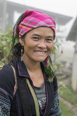 Ethnic Hmong woman (tmeallen) Tags: hmong ethnicminority woman smiling goldtooth headscarf mistyday borderregions traditionalattire sapa vietnam culture