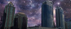 Final Frontier (Tomitheos) Tags: space future time orbit galaxy stars twintowers mirrorimages purplehaze cluster