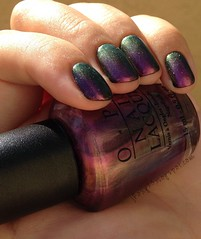 OPI Movin' Out over Marc Jacobs 200 Blacquer 4 (jRoxy13) Tags: marcjacobs opi nailpolish shimmer duochrome multichrome holidayonbroadway rainbow pink blacquer black