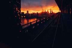 That Night The Sky Said Goodbye (c. Melon Images) Tags: 23mm city fuji x100s philadelphia philly street urban dirtywindowseries sunset dusk bridge benfranklinbridge