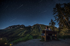 Meteor Shower (Mahmoud Abuabdou) Tags: meteor shower longexposure star shooting milkyway stars clear blue mountain astrophotography austria sterreich schladming ramsau dachstein steiermark styer bench tree trees forest adventure explore hike hiking midnight night artificial nature wide wideangle trails startrails summer august countryside nikon d610 14mm nightscape
