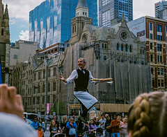 Performer (jayta3) Tags: performer melbourne federationsquare australia victoria cbd french australian streetphotography unicycle juggling