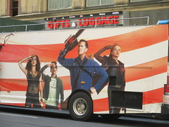 Evil Dead Double Decker Bus 5283 (Brechtbug) Tags: evil dead double decker bus billboard movie poster near 40th street 8th ave horror scary scifi film billboards new york city 2016 nyc science fiction red gold cities 09142016 starz explosions monsters book necronomicon lobby standee theatre sam raimi or bruce campbell st avenue chainsaw midtown manhattan ash vs