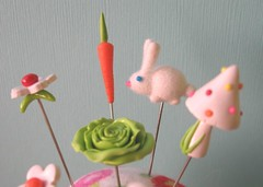 fuzzy bunny for Yuki (Pinks & Needles (used to be Gigi & Big Red)) Tags: rabbit bunny mushroom spring fuzzy cabbage carrots pincushion flocked crafting365 gigiminor pinksandneedles pintoppers pintopper pinksneedles day43365