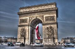 Arc de Triomphe (Annurgaia) Tags: travel anna paris france cars de french flag go arc triomphe landmark planet around lonely arcdetriomphe hdr hietanen annurgaia allrightsreservedbyannurgaia