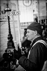 Message for Jesus (Bob the Binman) Tags: street man london monochrome hat sign blackwhite candid jesus southbank se1 londonist
