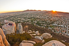 View from the mountain top at sunset. Blue Rock / Magnolia Boulders mountain in Santee, CA (slworking2) Tags: california ca mountain clouds climb rocks view sandiego suburban hiking suburbia hike climbing boulders vista elevation trespassing santee bluerock 92071 magnoliaboulders keggerflats mickeymousemountain