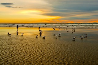 Extreme low Tide Huntington Beach Sunset