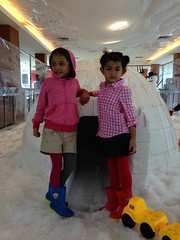 Isla and Nona and Snow (deasdira) Tags: snow mall jakarta indah pondok isla nona uploaded:by=flickrmobile flickriosapp:filter=nofilter