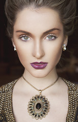 Different Times (AnnuskA  - AnnA Theodora) Tags: blue portrait woman green beauty vintage eyes makeup lips brazilian styling