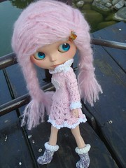 crochet knit long sleeve dress for blythe