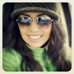 (PatyC) Tags: winter selfportrait girl smile hat sunglasses dark hair mexican brunette