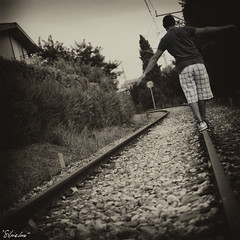 I precari (silvia lor) Tags: boy train nikon uomo silvia treno ragazzo ferrovia binari equilibrio lor d7000 silvialor