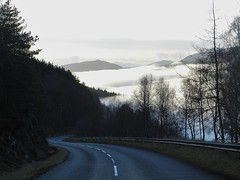 Moving Mist, (A831) near Cannich, Strathglass, Inverness-shire, Boxing Day 2012 (allanmaciver) Tags: trees mist mountains moving day shadows wind atmosphere twist highland boxing creeping inverness hovering 2012 cannich a831 hanginh allanmaciver