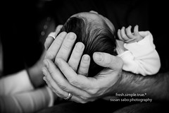 new year. new life. (smalldogs) Tags: family blackandwhite baby love parents holding hands support infant father touch fingers mother safety newborn cradling