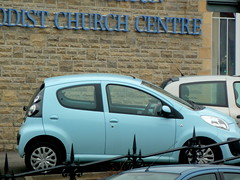 Motoring in pale blue (amy's antics) Tags: church car parked railings traffice 365d palenlue