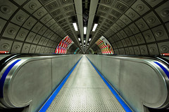 Leading lines (roken-roliko) Tags: uk blue england london lines underground subway infinity symmetry hdr rolandshainidze
