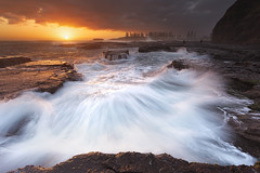 Kiama Haze (stevoarnold) Tags: sun water clouds sunrise flow rocks nsw newsouthwales kiama rockshelf seaascape