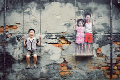 Penang Street Art (Children on the Swing) (clazirus) Tags: street art wall kids children mural play wallart georgetown swing malaysia penang d60 unohu clazirus louisgan