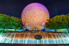 A Colorful Spaceship Earth (TheTimeTheSpace) Tags: trees fountain colors night lights epcot nikon disney disneyworld wdw waltdisneyworld hdr spaceshipearth futureworld matthewcooper photomatix nikond800 thetimethespace
