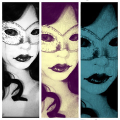 Mask trio (elizunseelie) Tags: portrait woman white selfportrait black girl self design three costume tears with faces mask makeup filter trio facepaint edit tryptic stinging diptic madquerade cryibg pixlromatic uploaded:by=flickrmobile flickriosapp:filter=nofilter