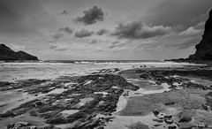 A grey day (Greatdog) Tags: sea sky blackandwhite beach cornwall crackingtonhaven cloudsstormssunsetssunrises