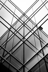 Criss Cross (Bjrnert) Tags: sky blackandwhite reflection building glass lines architecture modern plaid crisscross parallel selkirk victoriabc parallellines buildingreflection crossinglines intersectinglines selkirkwaterfront