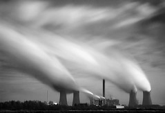 Power Towers...... (Chrisconphoto) Tags: longexposure blackandwhite bw clouds movement le streaks powerstation runcorn widnes spikeisland fiddlersferry weldingglass