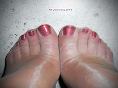 Like toes? (nylongrrl) Tags: pink red feet shiny toes arch shine legs polish tights glossy nails heels gloss heel essence satin ph pantyhose nylon toenails p2 nylons perlon garment canda collant