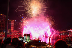 Australia Day Fireworks (Zak H Photography) Tags: pink colour yellow canon harbour january australia firework darling 50d