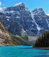 Late Afternoon Liight at Moraine Lake (Jeff Clow) Tags: lake mountains landscape afternoon albertacanada banffnationalpark morainelake canadianrockies glacialsilt tpslandscape