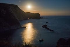 A fantabulous night to make romance (OR_U) Tags: 2016 oru uk dorset jurassiccoast cliffs night moon nightphotograhy sea channel islets boat moonshine reflection sky stars vanmorrison