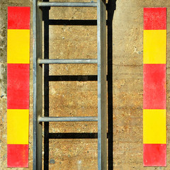 (SteffenTuck) Tags: outdoors built architecture ladder shadow wall texture minimal graphic signs steffentuck stockholm bright yellow red abstract