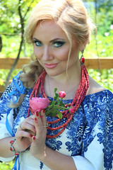 Beauty and a Rose (Pavlo Kuzyk) Tags: girl woman pretty blonde dress embroidered necklace canon ivanofrankivsk ukraine