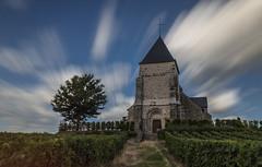 Church in the vineyards (Frederic DIDIER) Tags: eglise church cross croix grapes vigne vineyards champagne longexposure expositionlongue bleu blue sky ciel cloud nuage france