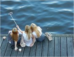 Selfie Mania (kurtwolf303) Tags: selfie women frauen wasser water blue nikoncoolpixs9900 compactcamera holzsteg streetphotography urbanlifeinmetropolis unlimitedphotos topf25 hamburg germany deutschland 250v10f topf50 500v20f topf75