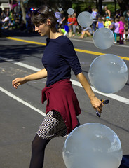 Thought Bubbles (swong95765) Tags: woman female lady crossing bubbles street parade beauty beautiful shape shapely