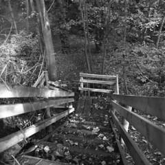 Greetby Hill/Dark Lane, Ormskirk (the underlord) Tags: ormskirk westlancashire zenzanons50mmf35 bronicasqb mediumformat mittleformat ilfordhp5plus kodakd76 730minsatstock staircase timber wood wooden