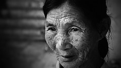 Rainy Day Companion (Michael Steverson) Tags: china old portrait woman white black asian chinese environmental elderly chinadigitaltimes guangxi