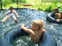 Little Tubers (The Travelin Chicks) Tags: travel southamerica pool concepcion adventure swimmingpool backpacking estancia paraguay relaxation farmlife elroble