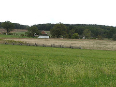 8891 Trostle Farm (lcm1863) Tags: autumn fall field barn rural landscape pennsylvania farm scenic meadow gettysburg battlefield 2010 oldandbeautiful bankbarn