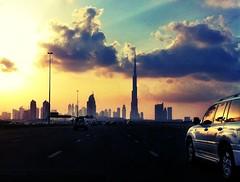 On the road in Dubai (StinaGu) Tags: travel sunset skyline dubai uae landmark iphone stinagustafsson burjkhalifa