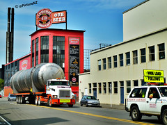 Roll out the Barrell (Steve Taylor (Photography) Internet V slow) Tags: street city christchurch chimney beer st truck tank cd barrel ale canterbury antigua lorry brewery cbd vat heavy load hopper wards pilots 1854 oversize hops draught follows wideload established stasaph ourbeer