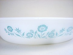 Thrifted ... Sears Aqua Floral Divided Dish by Jeanette Glass (kathi_minikatie *here when I can be*) Tags: vintage january pyrex glasbake thrifted 2013