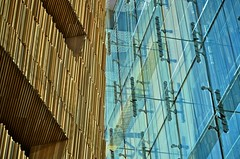Contrasting (Paulo N. Silva) Tags: wood blue brown glass oslo norway architecture contrast opera steel