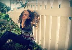 """NeverEnding..."" (Sunset Dream Photography) Tags: street wood winter plants white selfportrait never green girl grass yard fence garden hair glasses sweater alone sitting stripes neighborhood sidewalk flip end mysterious swish hairflip picketfence neverending darkedges"