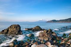 Mt Fuji and Winter Sea (-TommyTsutsui- [nextBlessing]) Tags: longexposure blue winter light sea sky seascape nature rock japan landscape nikon waves fuji tide scenic       izu toi      sigma1750 onsalegettyima