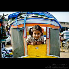 Rickshaw Rani (Sathish_Photography) Tags: india motion streets cute travelling girl port photography fishing market small madras photowalk rickshaw chennai tamilnadu sathish mim kasimedu